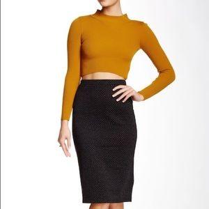 Free People Ludlow gray black pencil skirt XS